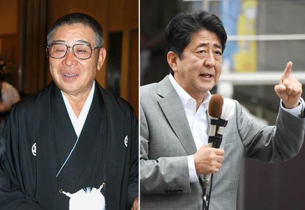 大橋巨泉(左)と安倍首相(C)日刊ゲンダイ
