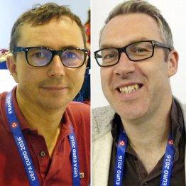 ファビエール記者(左)とブラッセル記者