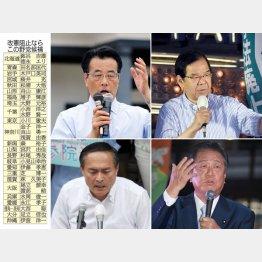 左上から時計回りに、岡田克也、志位和夫、小沢一郎、吉田忠智(C)日刊ゲンダイ