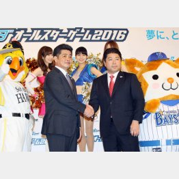 球宴会見での全パ・工藤監督(左)と全セ・真中監督