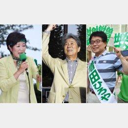 候補者同士の足の引っ張り合い(左から)小池百合子氏、鳥越俊太郎氏、増田寛也氏