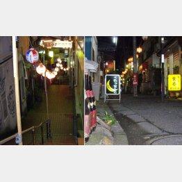 薄暗い階段が地獄の入口(左)、昭和風情のスナックが多い/(提供写真)