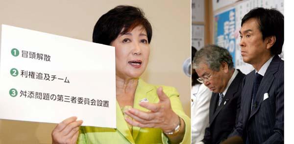 石原都連会長(右)と内田都議は首を洗って待つしかない?(C)日刊ゲンダイ