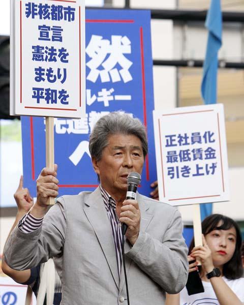 非核都市宣言を提案した鳥越氏(C)日刊ゲンダイ