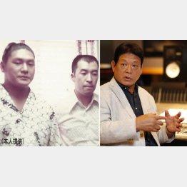 (写真左)三保ケ関部屋力士時代に曽根さん(右)2人の恩師について語る増位山太志郎さん
