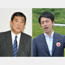 石破・地方創生相(左)と小泉進次郎氏