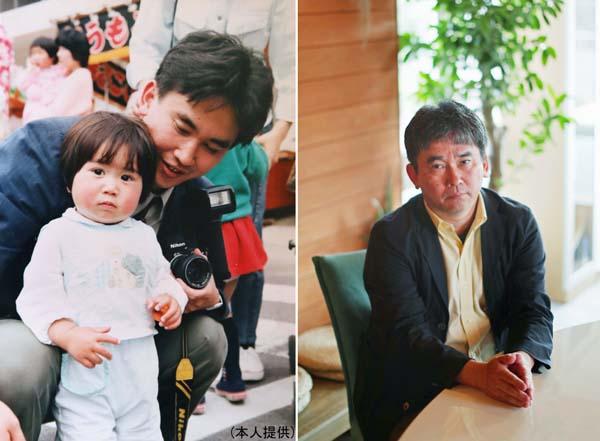 取材後に先輩の娘さんと(左)/(提供写真)