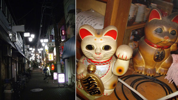 """奥へ進むといきなり寂しげな雰囲気に(左)、裕次郎を""""見た""""招き猫/(C)日刊ゲンダイ"""