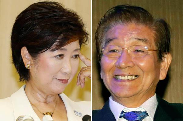 小池新知事に冷たい対応で川井議長(右)は総スカン/(C)日刊ゲンダイ