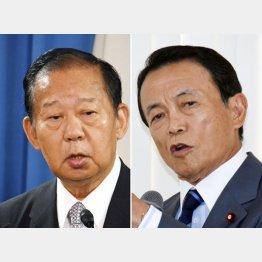 補選では対立する二階幹事長(左)と麻生財務相(C)日刊ゲンダイ