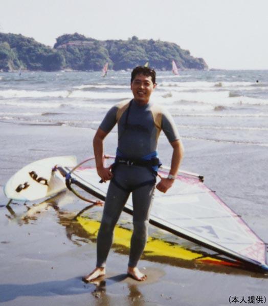 森朗さんがウインドサーフィンを始めた頃(提供写真)