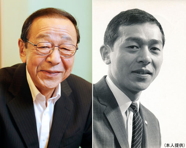 左はフジテレビ新人時代、初任給3万円は「高い方でした」/(提供写真)