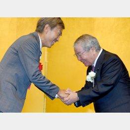 パーティーで石原経済再生相と握手をする内田茂都議