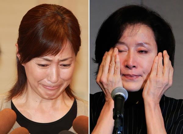 高島礼子(左)も高畑淳子も涙の会見/(C)日刊ゲンダイ