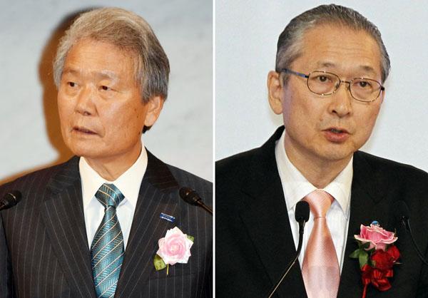 榊原経団連会長(左)と神津連合会長/(C)日刊ゲンダイ