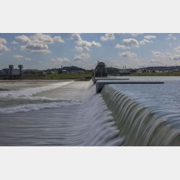 台風による大雨で増水した上河原堰堤