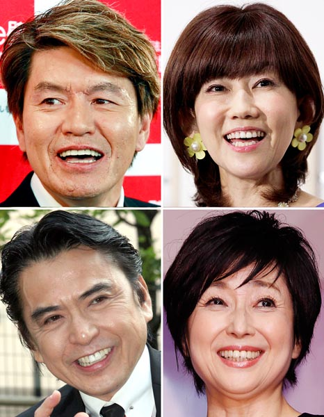 (左上から時計回りに)ヒロミ&松本伊代夫妻、竹下景子、志垣太郎(C)日刊ゲンダイ