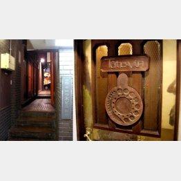 一ツ木通りから入ってこないと分からない(店の入口を背に通り方面を見る)、渋~い感じのドア