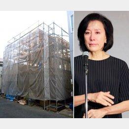 建設中の豪邸と高畑淳子(C)日刊ゲンダイ