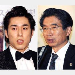高畑裕太(左)と弘中惇一郎弁護士