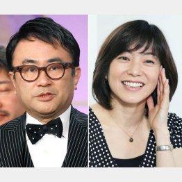 三谷幸喜(左)と小野お通役の八木亜希子/(C)日刊ゲンダイ