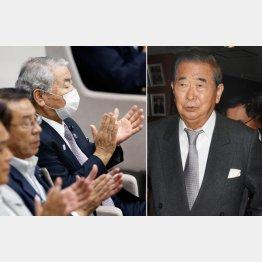 逃げの一手の石原慎太郎(右)と本会議にマスク姿で現れたドン