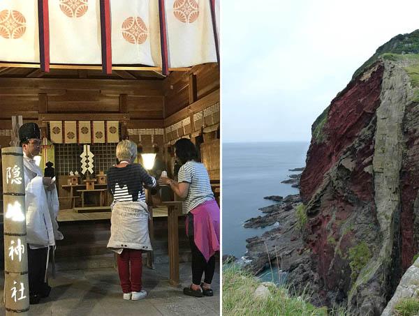 隠岐神社(左)と赤壁(提供写真)