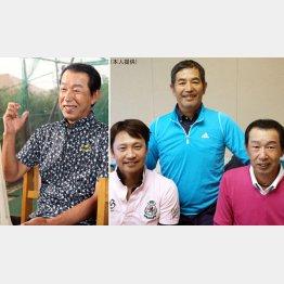 定岡(右写真=中央)、二岡(右写真=左)とは今でもよくラウンドする(C)日刊ゲンダイ