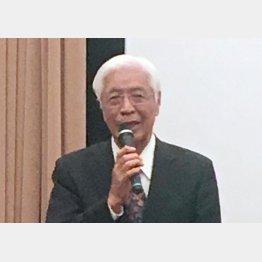 試写会であいさつをする佐藤栄佐久元福島県知事/(C)日刊ゲンダイ