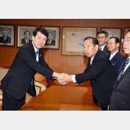 会談で握手をする泉田知事(左)と自民党の二階幹事長