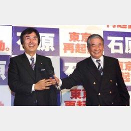 長男・伸晃氏(左)とも税金で会食