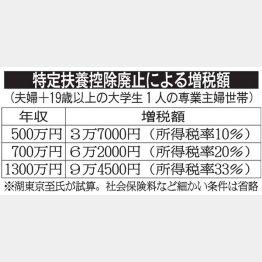 増税額のシミュレーション表(C)日刊ゲンダイ