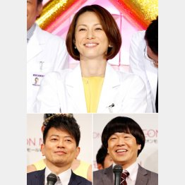 米倉涼子(上)と雨上がり決死隊(C)日刊ゲンダイ