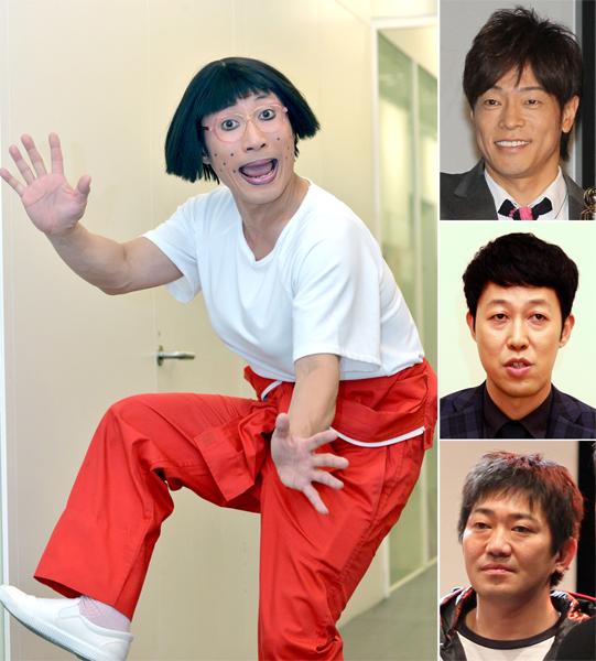 左から時計回りですっちー、陣内智則、小籔千豊、メッセンジャー黒田(C)日刊ゲンダイ