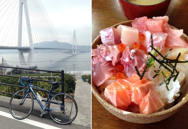 島々を結ぶ7本の橋を走破しよう(左)・大三島の定食屋「大漁」名物の海鮮丼(C)日刊ゲンダイ