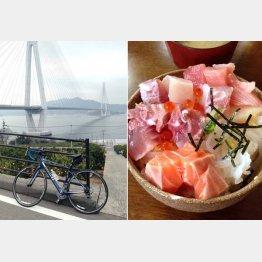 島々を結ぶ7本の橋を走破しよう(左)・大三島の定食屋「大漁」名物の海鮮丼