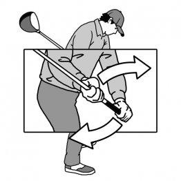 ダウンスイングは左右の手が違う方向に動くとプレーンに沿って下りる
