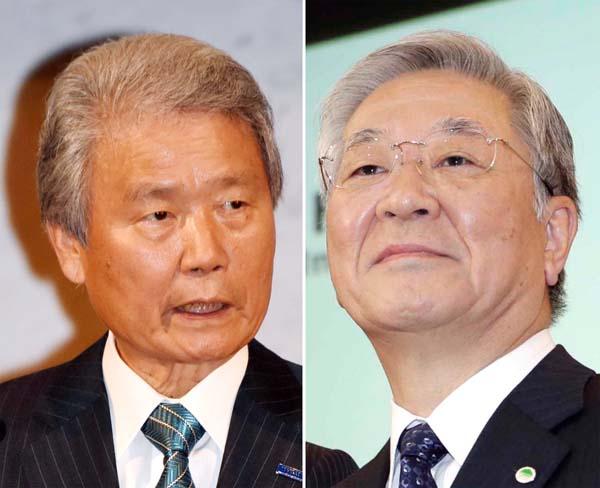 榊原経団連会長(左)と日立の中西会長/(C)日刊ゲンダイ