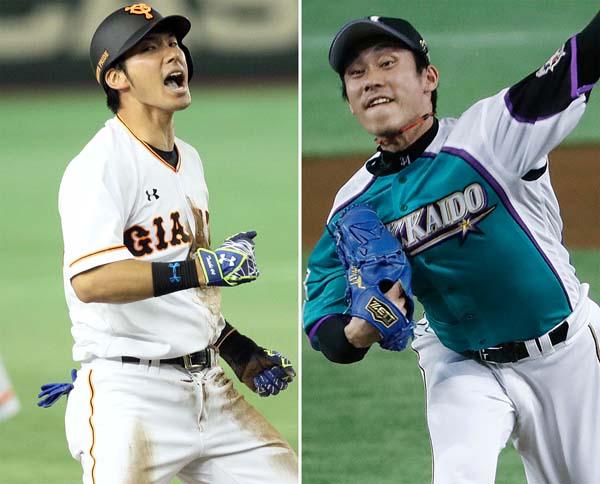 フリー打撃は世界一の巨人・大田、左は日ハム・吉川/(C)日刊ゲンダイ