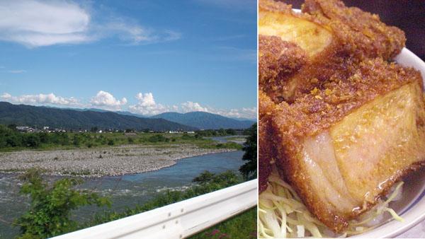 国道153号から見た天竜川(左)・レストランしらかば(伊那市)のソースかつ丼(C)日刊ゲンダイ