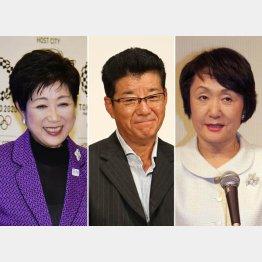 左から小池百合子東京都知事、松井一郎大阪府知事、林文子横浜市長