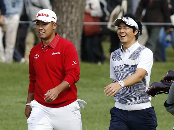 日本オープンゴルフ選手権での松山英樹と石川遼(C)日刊ゲンダイ