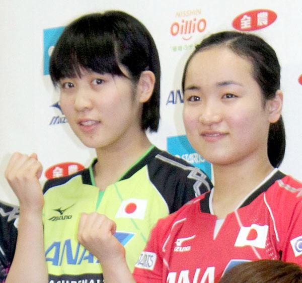平野美宇(左)と伊藤美誠は共に16歳(C)日刊ゲンダイ