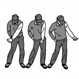 左手のシャドーでタイミング良くフェースを返す感覚を養う