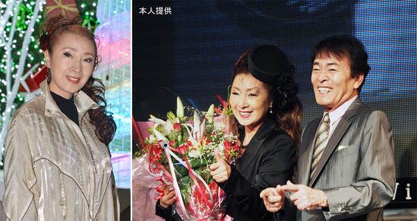 右写真=安倍里葎子さんと平尾昌晃さん(提供写真)