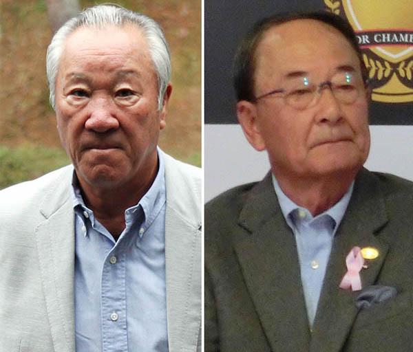 蜜月だった青木氏と松井氏(右)の間にも亀裂が…(C)日刊ゲンダイ