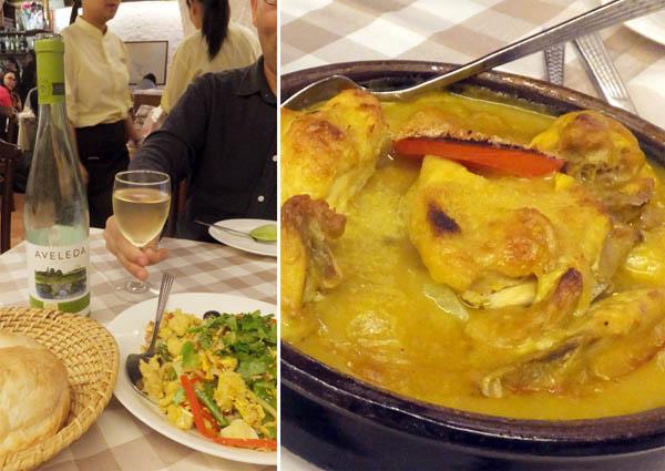 マカオの定番料理、「バカリャウ・ア・ブラス」(左)とポルトガルチキン/(C)日刊ゲンダイ