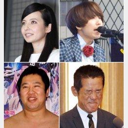 左から時計回りにベッキー、川谷絵音、三遊亭円楽、とにかく明るい安村(C)日刊ゲンダイ