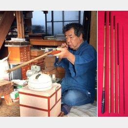 紀州へら竿(左)と2代目の山上さん/(提供写真)