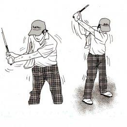 タオル挟み素振り 右ひじは体の幅から絶対にはみ出さない
